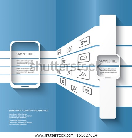 Smart watch concept illustration infographics with applications icons in 3d space. Eps10 vector illustration - stock vector