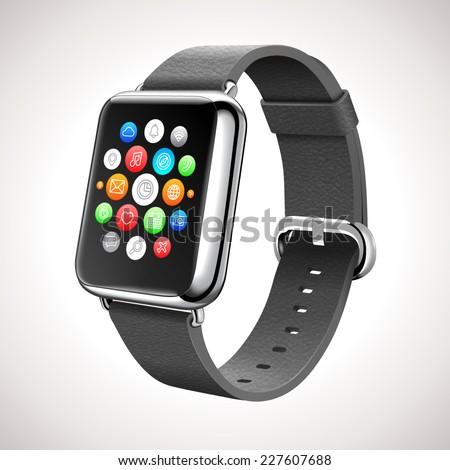 Smart Watch Concept Vector Realistic Illustration - stock vector