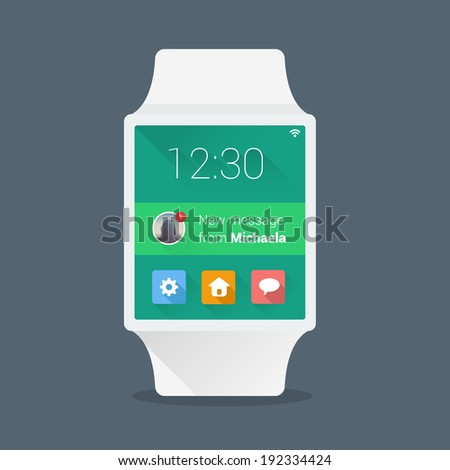 Smart watch concept with simple user interface made in flat color design - stock vector