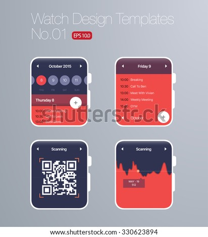Smart Watch Design Templates - Red Background - EPS 10 - stock vector