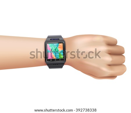 Smart watch gadget with colorful digital display face on left hand wrist realistic image vector illustration