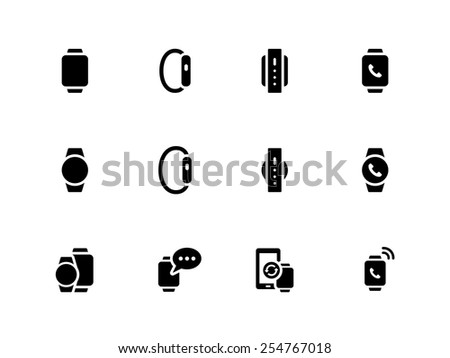 Smart watch icons on white background. Vector illustration.