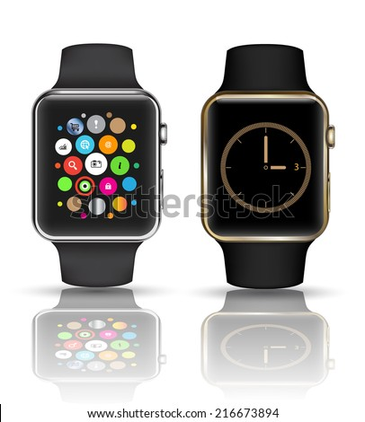 Smart watch isolated with icons on white background. Vector illustration. - stock vector