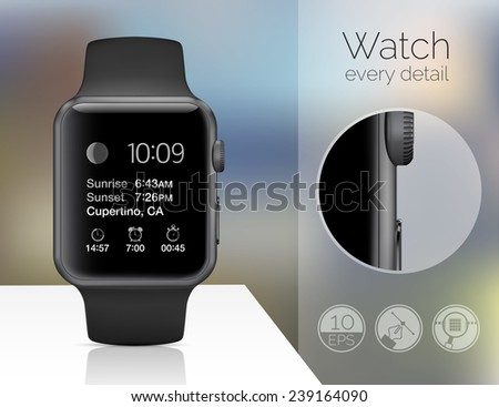 Smart watch on blured background. Vector illustration - stock vector