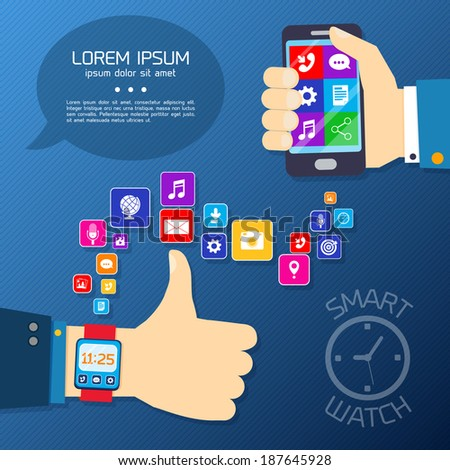 Smart watch smartphone synchro concept with thumbs up hand and mobile apps icons vector illustration - stock vector