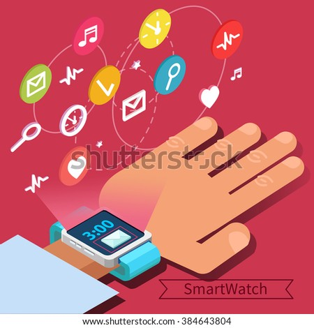 Smart Watch Technology Concept with Hands and Icons. Vector illustration in isometric style