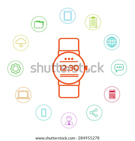 Smart Watch Technology Electronic Device Apps Icons Set Thin Line Simple Colorful Collection Minimalistic Style Vector Illustration - stock vector