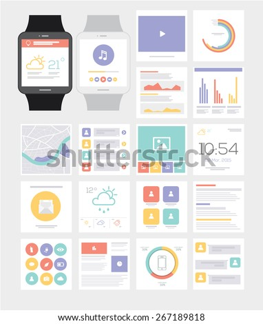 Smart watch. UI Kit. Flat Infographic. Vector illustration. - stock vector