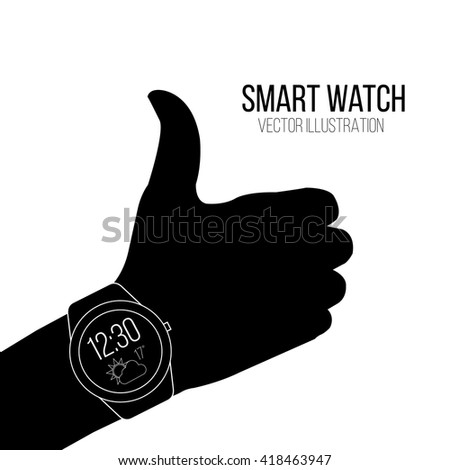 smart Watch vector in black and white color backdrop