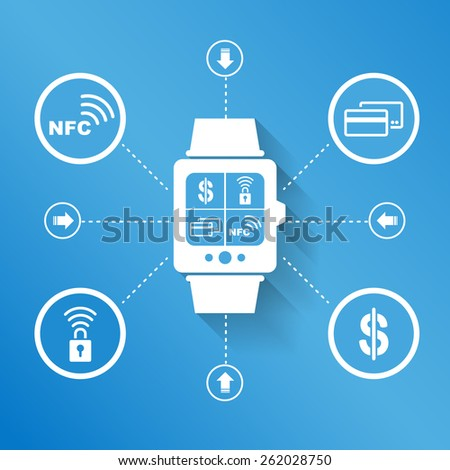 Smart watch wearable device for pay and shopping concept - stock vector