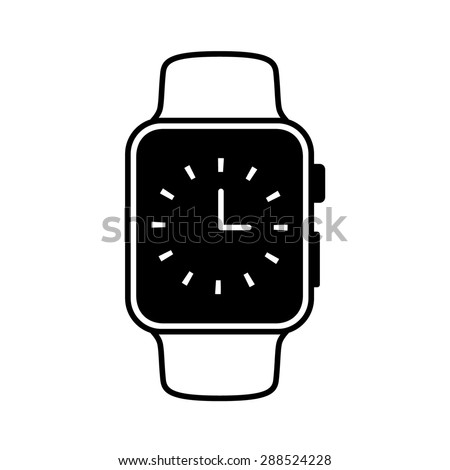 Smart watch wearable with time face flat icon - stock vector