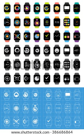 Smart Watches Big Collection Set. - stock vector