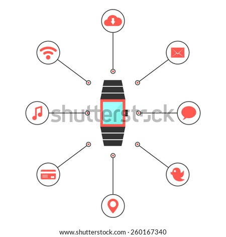 smart watches with social media icons. concept of mobile shopping payment, e-commerce, global service, transaction. isolated on white background. flat style trendy modern design vector illustration - stock vector