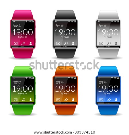 Smart wrist watch with wifi phone weather and email widget realistic color decorative icon set isolated vector illustration - stock vector