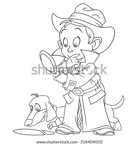 smart young cartoon detective boy and his bloodhound dog are solving a mysterious footprint - stock vector