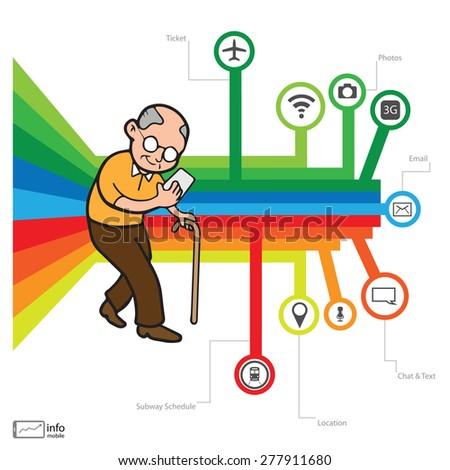 Smartphone addicted old man vector - stock vector