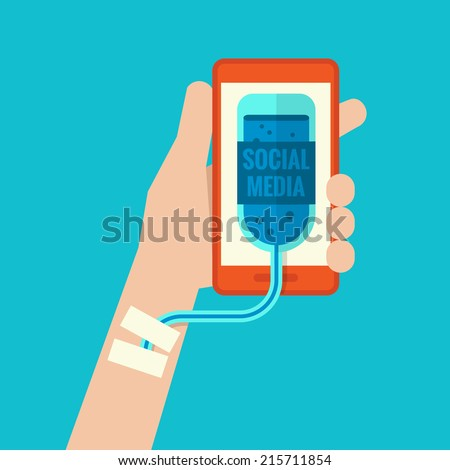 Smartphone addiction flat design - stock vector