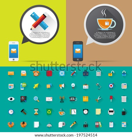 Smartphone alert and  flat icons collection . Set 2, Office Tools . - stock vector
