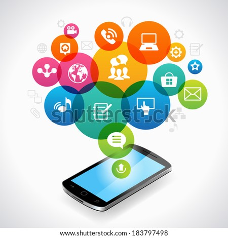 Smartphone and abstract global computer network.  - stock vector