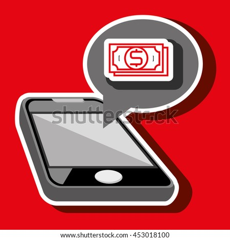 smartphone and bill dollar isolated icon design, vector illustration  graphic