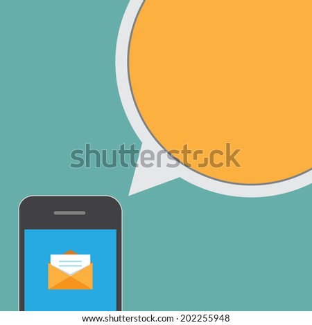 Smartphone and bubble talk message.Illustration EPS10 - stock vector