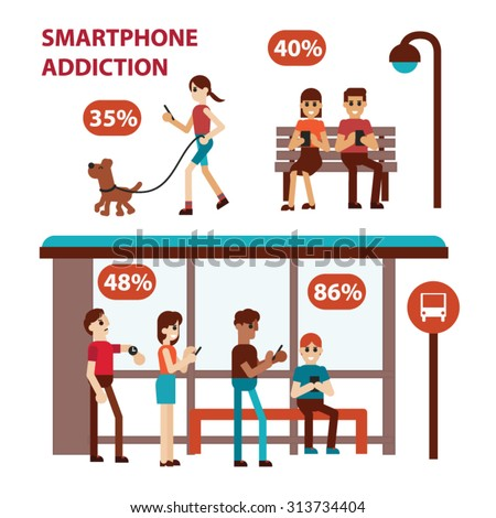 Smartphone and Internet Addiction. Vector illustration. - stock vector