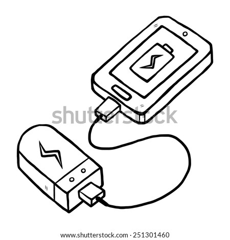 smartphone and power bank / cartoon vector and illustration, black and white, hand drawn, sketch style, isolated on white background. - stock vector