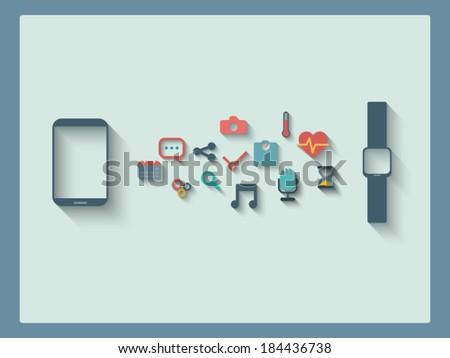 Smartphone and smart watch concept with icons in modern flat design. Eps10 vector illustration - stock vector