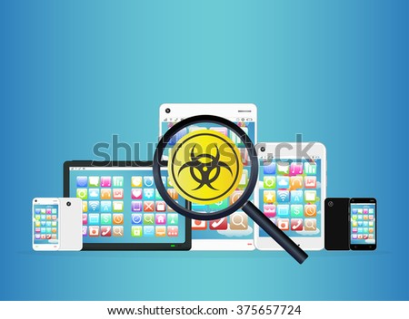 smartphone and tablet detected virus  - stock vector