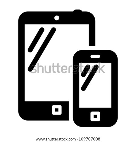Smartphone and tablet PC black vector icon - stock vector