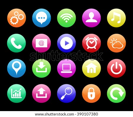 Smartphone app icon set. Vector file layered for easy manipulation and customisation. - stock vector