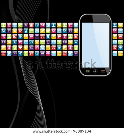 Smartphone application icons on black background. Vector file layered for easy manipulation and customisation. - stock vector