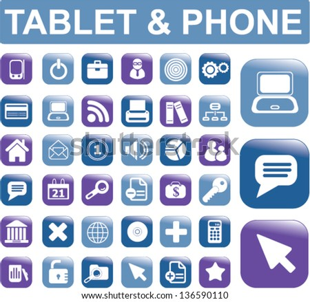 smartphone apps buttons, icons set, vector - stock vector