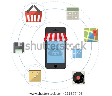 Smartphone as online store - Mobile shopping concept vector with flat icon set - stock vector