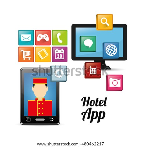 Smartphone bellboy and hotel apps icon set. Service technology media and digital theme. Colorful design. Vector illustration