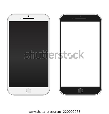 Smartphone black and white color Isolated / Realistic mobile iphon style mockup vector / Can use for printing and website. - stock vector