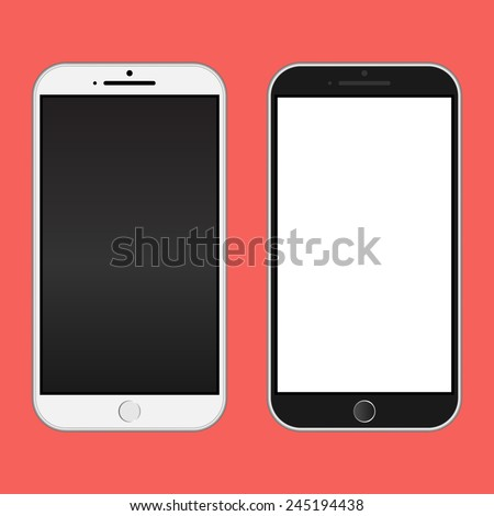 Smartphone black and white color / Realistic mobile iphon style mockup vector / Can use for printing and website. - stock vector