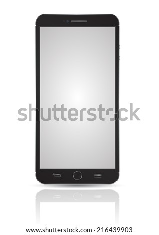 Smartphone black  model Isolated. Can use for frame or background printing and website. Presentation, game, application mockup background.