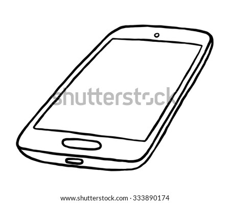 smartphone / cartoon vector and illustration, black and white, hand drawn, sketch style, isolated on white background. - stock vector