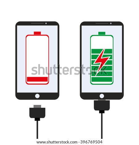 Smartphone charging, flat design, vector illustration on white background - stock vector