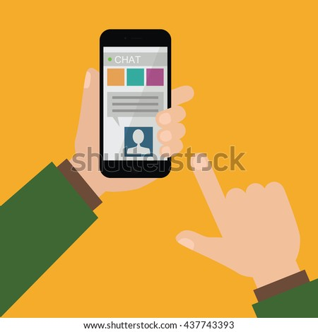 Smartphone chat illustration. Hands holding mobile phone and sending text vector.