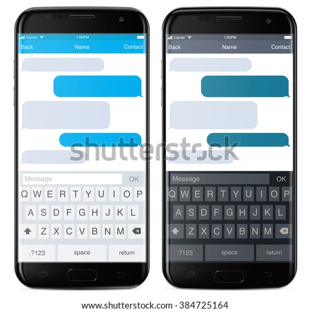Smartphone chatting sms app template bubbles, black and white theme. Place your own text to the message clouds. Compose dialogues using samples bubbles! Eps 10 format - stock vector