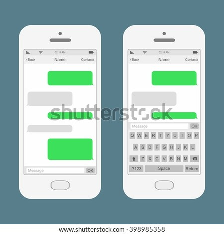 Smartphone chatting SMS Messages speech Bubbles. Vector Illustration - stock vector