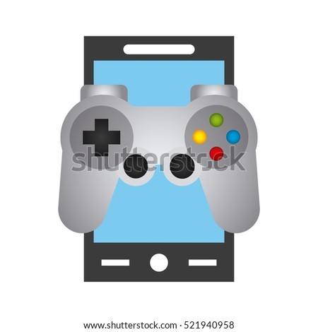 smartphone deve with videogame control icon over white background. vector illustration