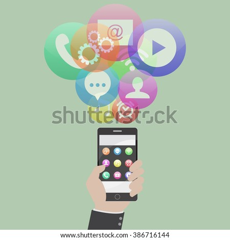 Smartphone device concept with applications (app) icons. Flat design. Vector illustration - stock vector