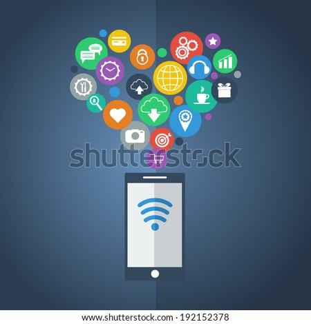 Smartphone device concept with applications (app) icons on dark background. Flat design. Vector illustration  - stock vector