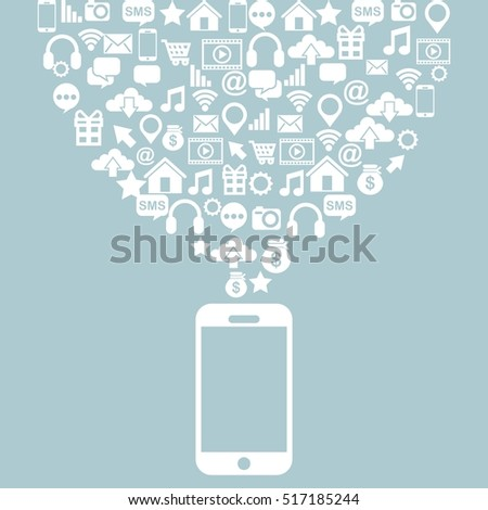 smartphone devvice with social media icons over blue background. vector illustration