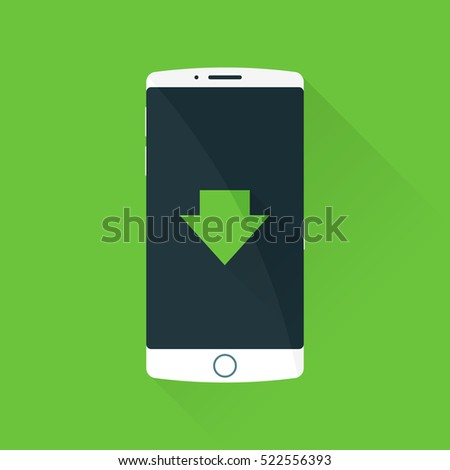 Smartphone Download. Vector icon. Green background