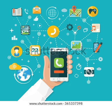 Smartphone functions design flat. Smart phone, tablet and mobile phone, smartphone hand, technology smart, internet and app, device telephone, network wireless illustration. Smartphone functions - stock vector