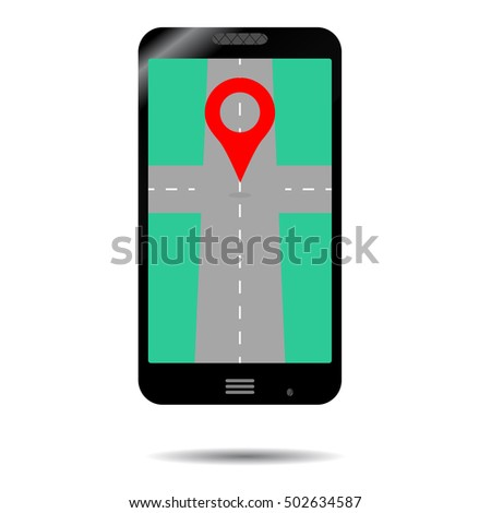 Smartphone GPS icon. App for transportation, gadget and cartography illustration